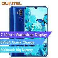 OUKITEL K9 4G Smartphone 7.12 inch Android 9.0 MTK 6757 Octa Core 2.3GHz 4GB RAM 64GB ROM 16.0MP Fingerprint 6000mAh Mobile