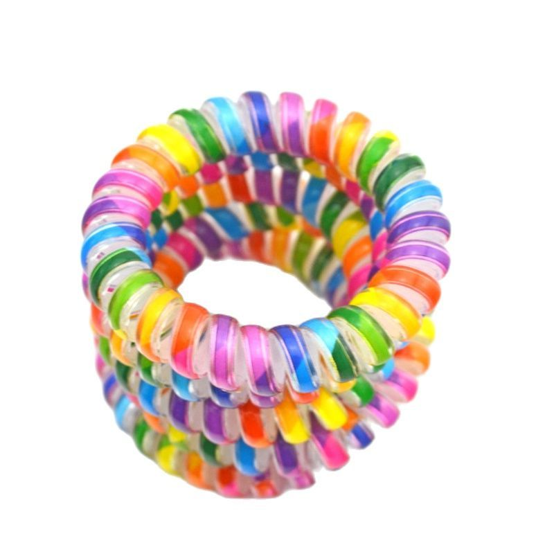 Lots 100Pcs 5.5cm Colorful  Women Elastic Plastic Rubber Telephone Cord Wire Hair Ties Coil Scrunchies Hair Ring Band