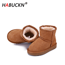 HABUCKN 2020 New Genuine Leather Fur Snow Boots child Top High Quality Australia Boots Winter Boots for Boys and girls Warm boot