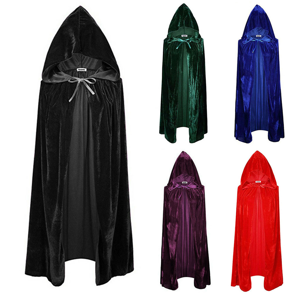 Halloween Unisex Deluxe Long Velvet Black Hooded Cloak Cape Vampire Fancy Dress