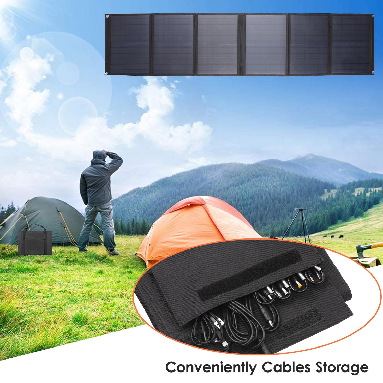 KKmoon 6-fold Solar Panel Folding Bag Dual USB+DC Output Solar Charger Solar Charging Device Outdoor Portable Power Supply