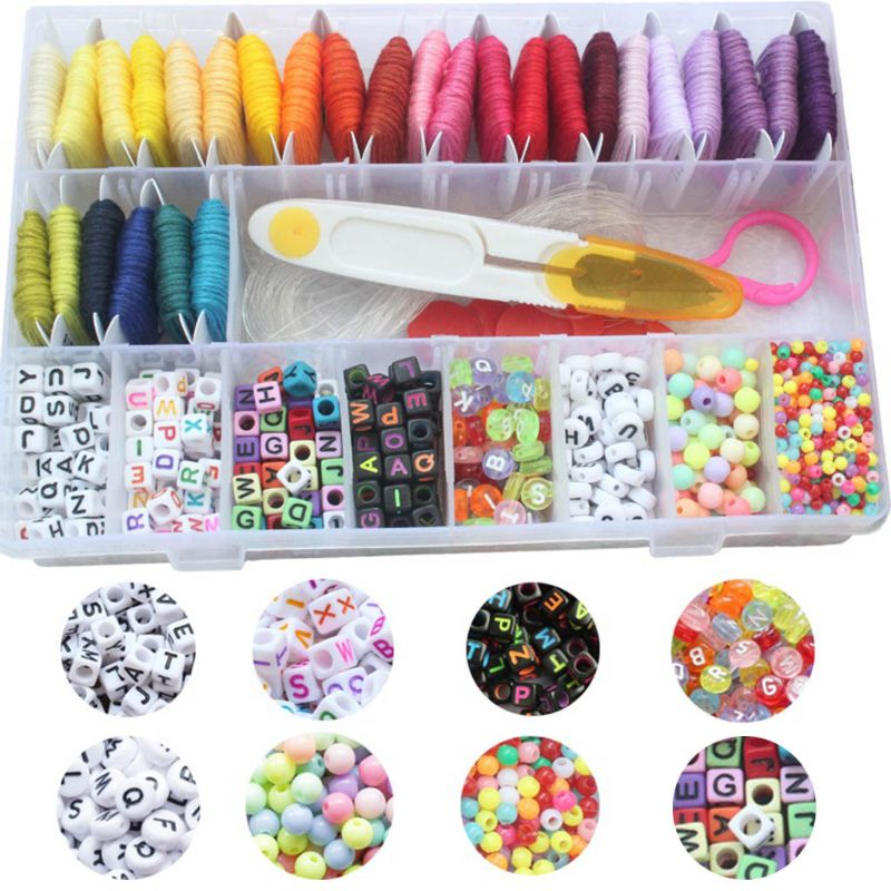 28 Multicolor Embroidery Floss Bracelet Making Beads Kit For Friendship Jewelry