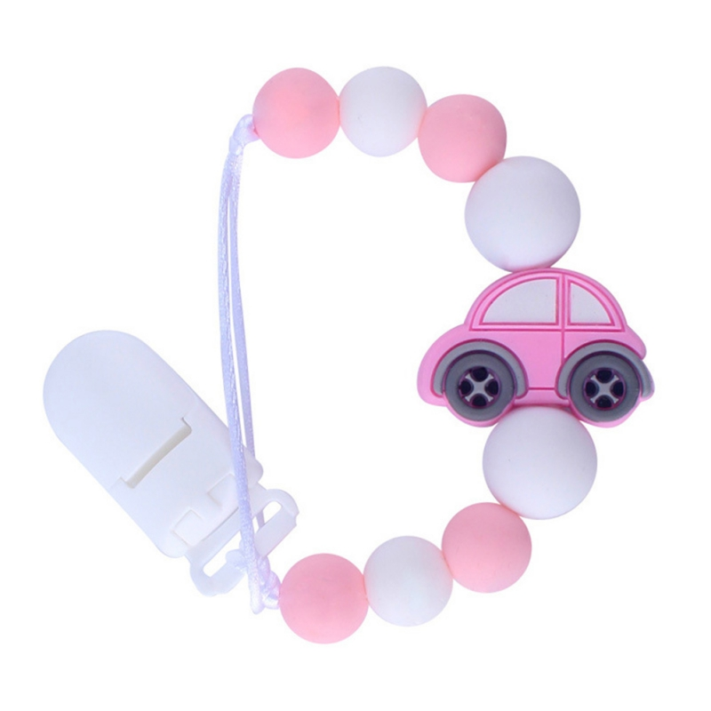Baby Teether Nursing Accessories Crochets Log Pacifier Clip Small Car Silicone Teether Sensory Chewing Toy Kids Gift Pendant