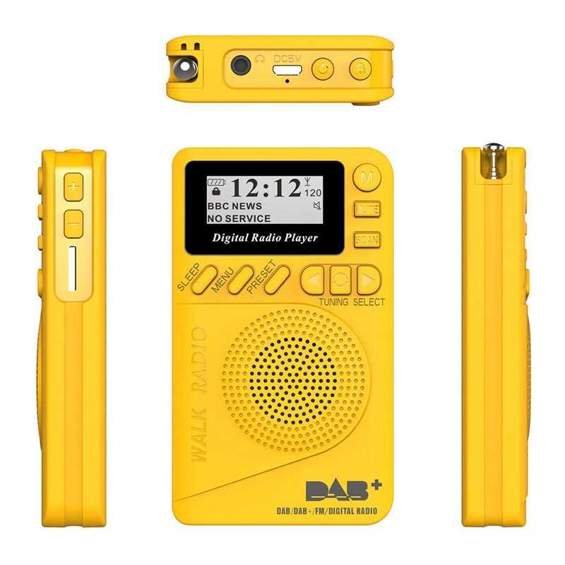 Bolsillo Digital Dab Radio 87,5-108 Mhz Mini Dab + Radio Digital con Mp3 reproductor Fm Radio pantalla Lcd y altavoz
