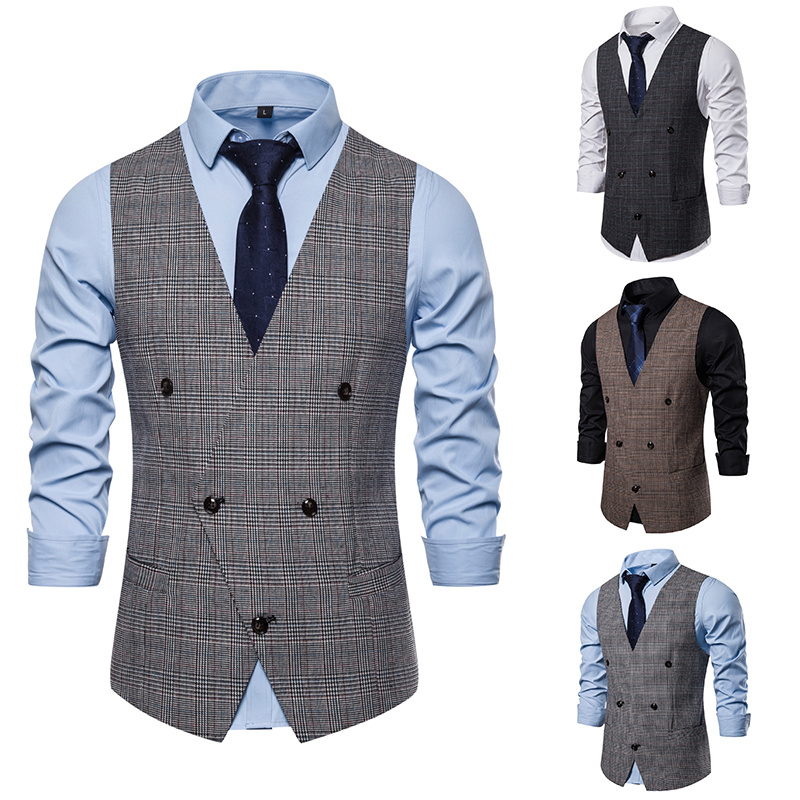 Brand Formal Suit Vest Men 2019 Fashion British Style Double Breasted Waistcoat Slim Fit Plaid Gilet Business Sleeveless Jacket