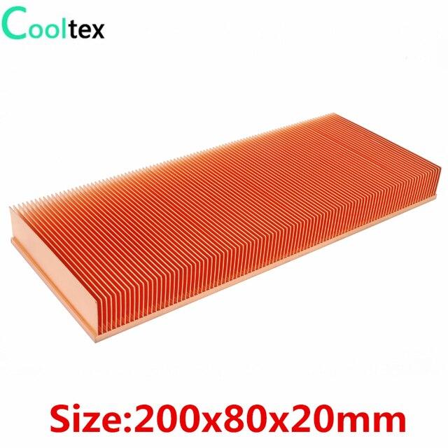 100% ใหม่ 200x80x20 มม.ฮีทซิงค์ทองแดงบริสุทธิ์ Skiving Fin สำหรับชิปอิเล็กทรอนิกส์ LED Power เครื่องขยายเสียง Cooling Cooler