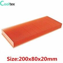 100% חדש 200x80x20mm טהור נחושת צלעות קירור Skiving סנפיר גוף קירור עבור אלקטרוני שבב LED כוח מגבר קירור Cooler