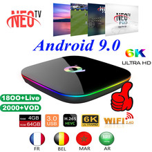 TV Box Android9.0 Q Plus + 1 an NEO Pro IPTV abonnement France espagnol Italia Smart IPTV WiFi décodeur 6K Home Media Player(China)