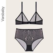 Varsbaby fio livre sem forro transparente profundo v lingerie fio de cintura alta s m l xl conjunto de roupa interior para mulher