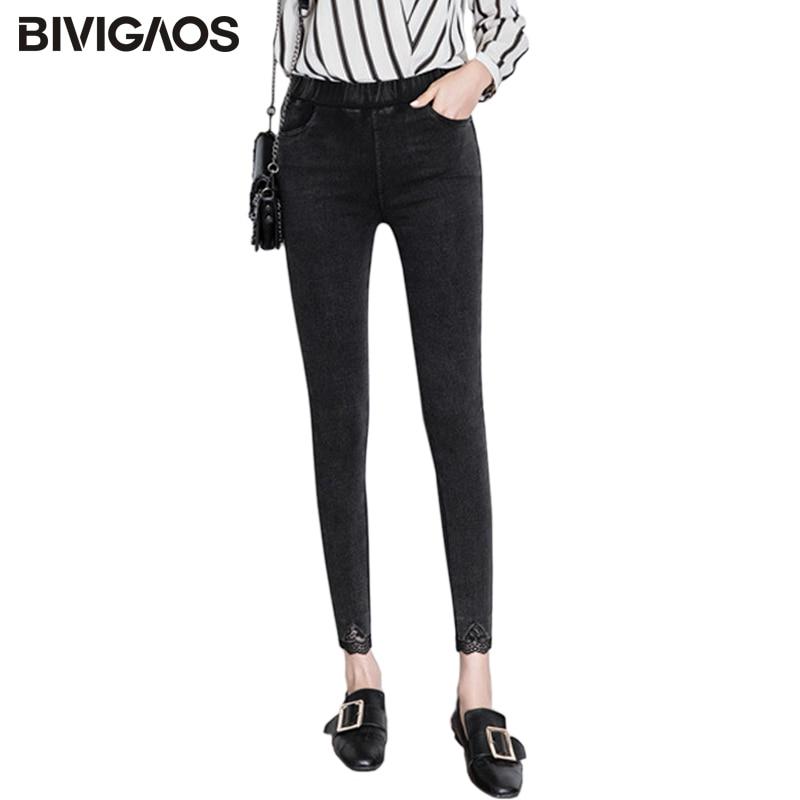 BIVIGAOS New Bottom Bem Lace Lacework Jeans Leggings Women Skinny Slim Pencil Pants Black Thin Stretch Jeggings Korean Jeans