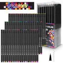 Fineliner – stylos marqueurs à eau de couleur, noir à l'école, Fineliner à croquis, 0.4mm, 24 36 48 60 100 couleurs, stylo à brosse