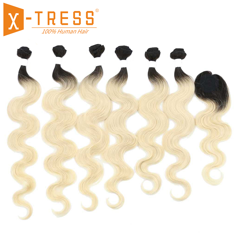 Ombre Black Blonde 613# Color Human Hair Weave 6 Bundles With Closure X-TRESS Body Wave Brazilian Non-Remy Hair Weft Extensions