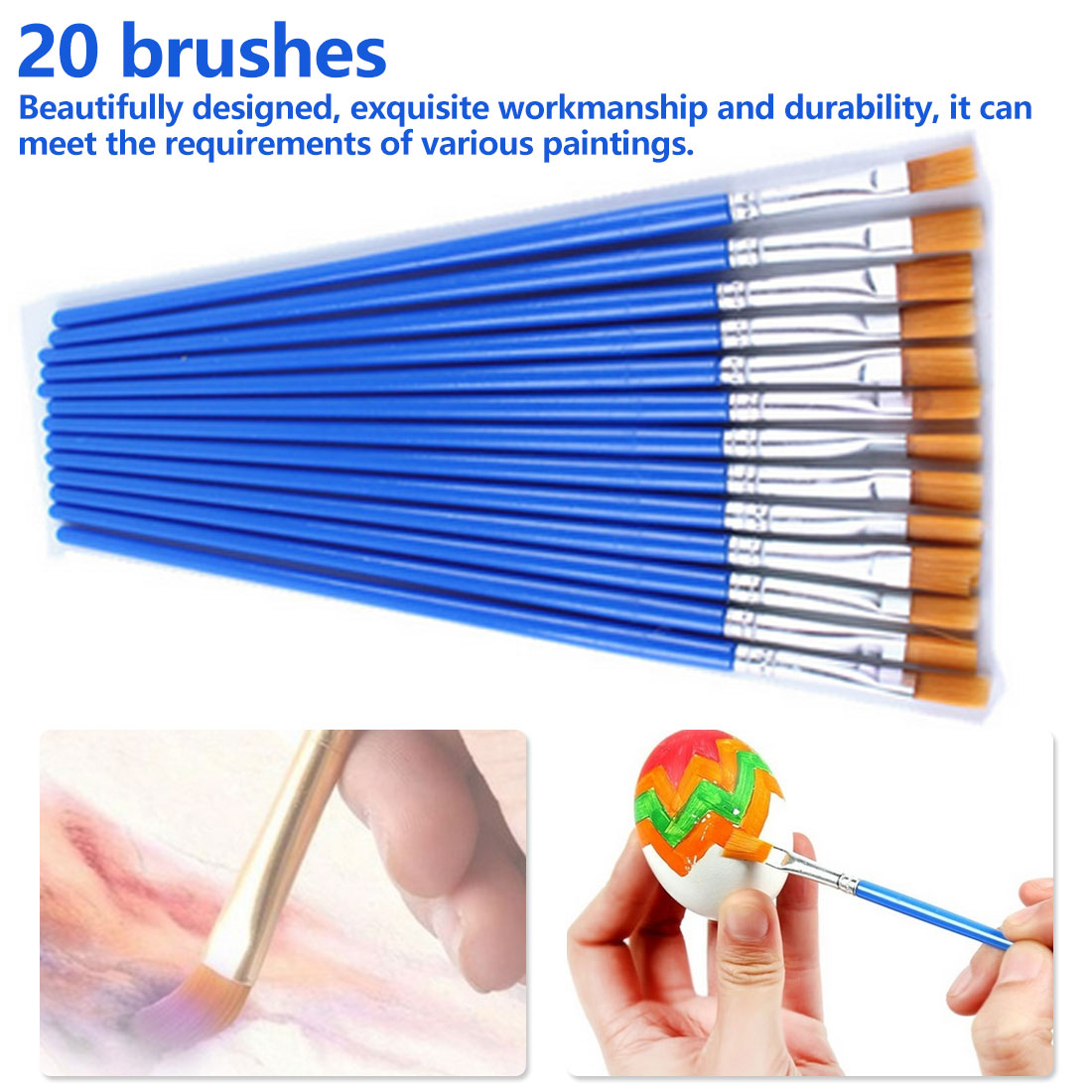 20Pcs/ Set Watercolor Painting Brush Gouache Brushes Nylon Hair Paint Brush Hook Line Pen Drawing Brushes For DIY Art Supplies