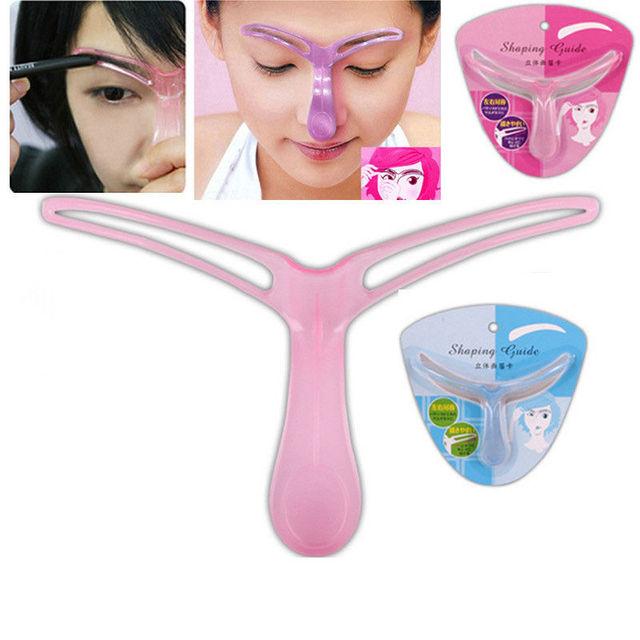 1Pcs Eyebrow Stencils Template DIY Eye Brow Grooming Shaping Eyebrow Shaper Ruler Beauty Woman Makeup Tool Random Color 1