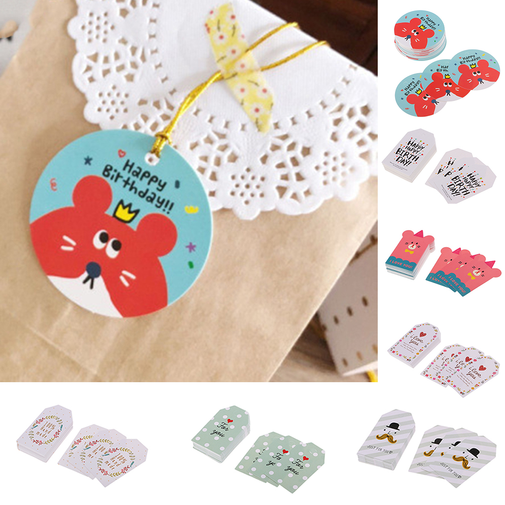 50pcs Colored Paper Tags Patterned Labels Bear Shaped Bookmarks Flower Designed Craft Tags for Home Decoration Christmas Cards