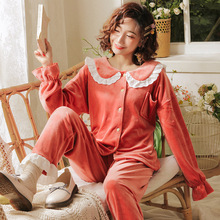 Coral Velvet Pajamas Women Autumn Winter Sweet Lovely Princess Wind Pajama Sets Home Homewear Flannel Thick Warm Set 2-piece