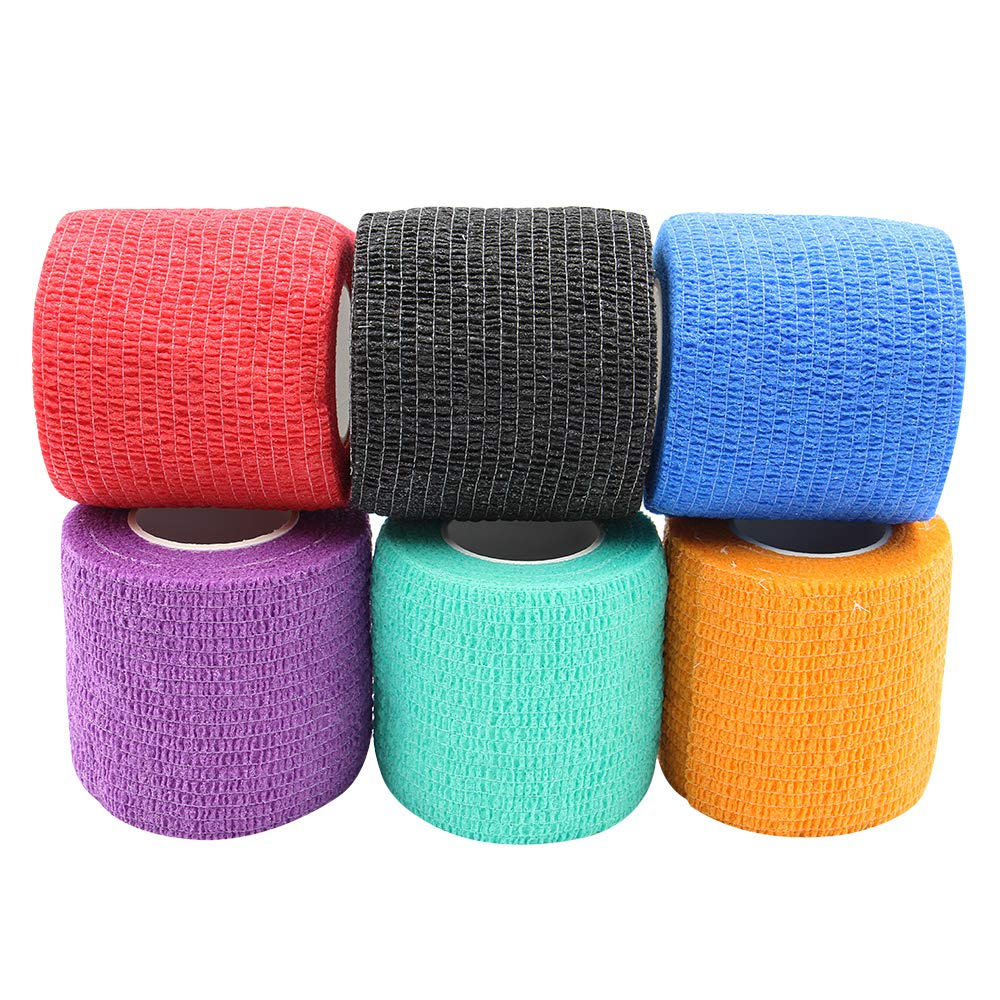 6 Color Tattoo Grip Cover Wrap Cohesive Tattoo Grip Tape Wrap Elastic Bandage Rolls Self-Adherent Tape Tattoo Accessories