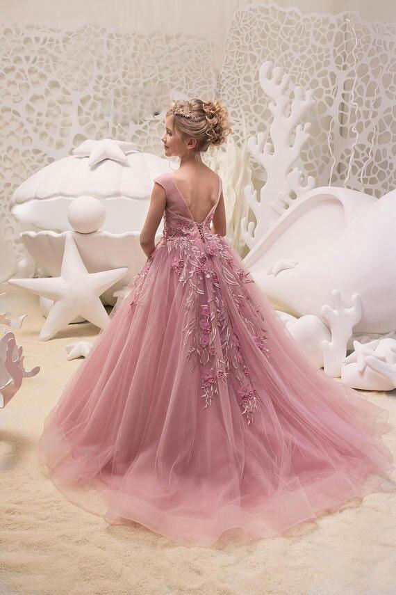 2019 CHILDREN'S Full Dress Princess Dress Tailing Dresses Of Bride Fellow Kids Girls Birthday Late Formal Dress Costume