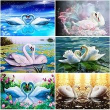 5D Diamond Painting Full Square Round Drill Swan Diamond Embroidery Animal Mosaic Needlework Beaded Rhinestones Art Handicraft