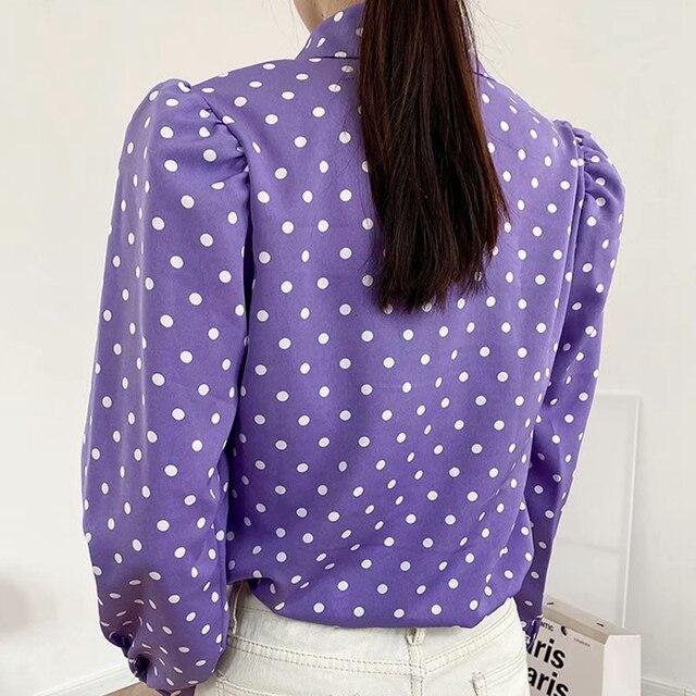 Elegant Purple Shirt with white polka dot