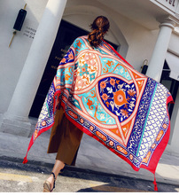 180*95CM Women Shawls Cotton Pashmina Linen Scarf Wraps Thin Satin Floral Retro Ethnic Style Long Spring Summer Beach Scarve