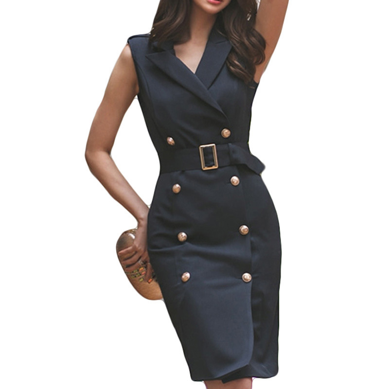 Women Belted Dress Summer Office Lady Vestidos Sleeveless Work Wear Slim Double Button Sexy Korean Fashion Style Clothes