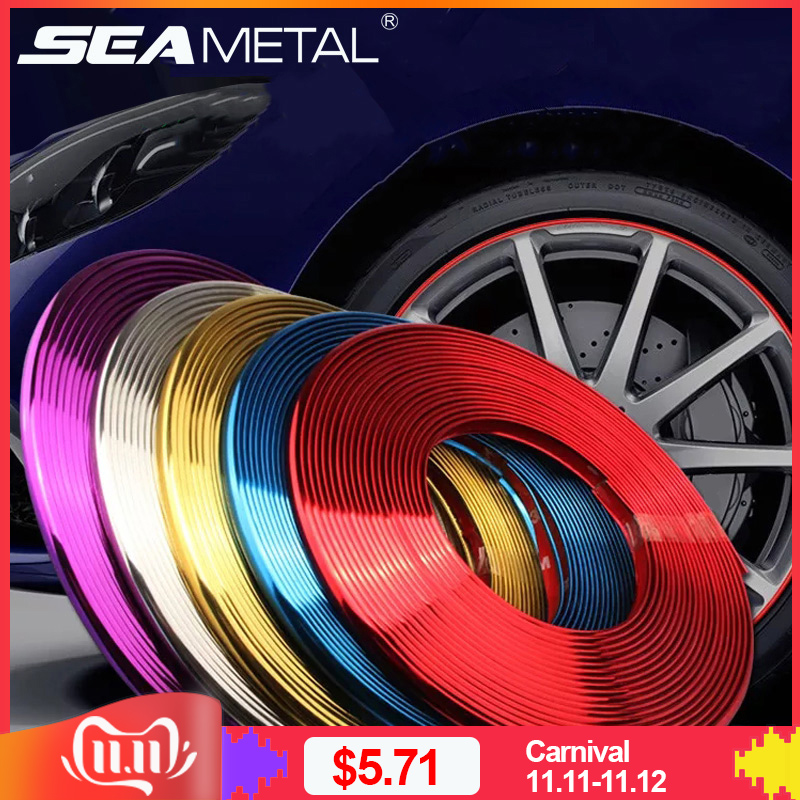 Car Wheel Rim Sticker Chrome Wheel Decoration Auto Tire Rims Plated Strip Protection Decoration Car styling Exterior Accessories-in Car Stickers from Automobiles & Motorcycles