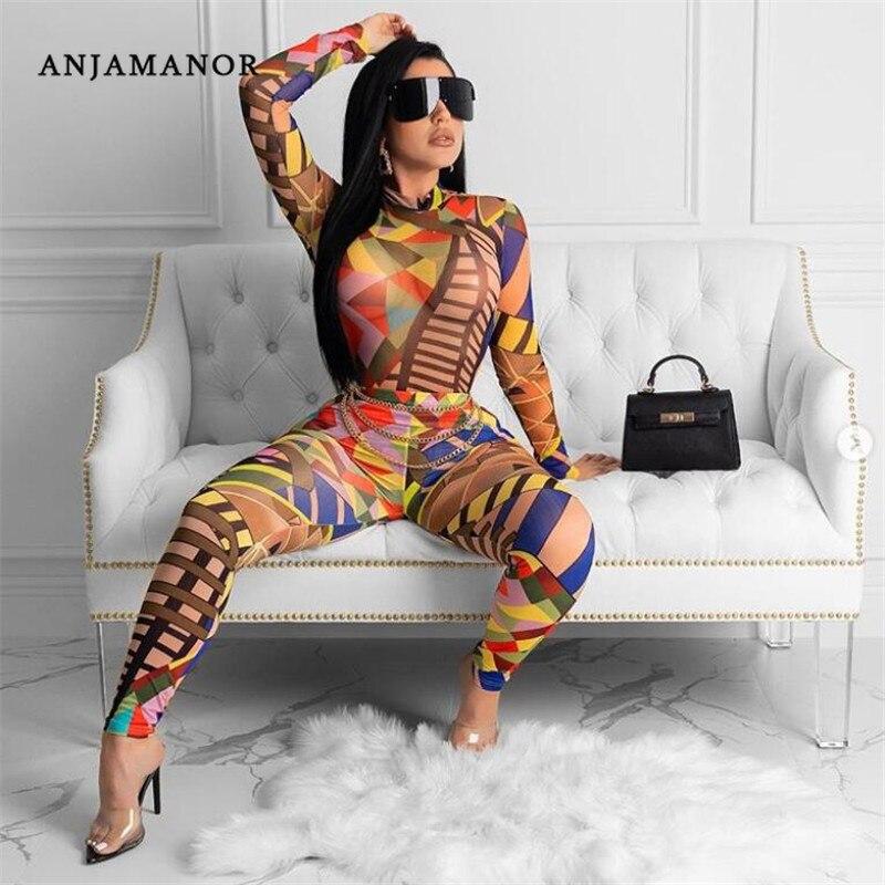 ANJAMANOR Sexy Two Piece Club Set Geometric Print Long Sleeve Bodysuit Leggings Women Clothes 2020 Matching Sets D90-AD57