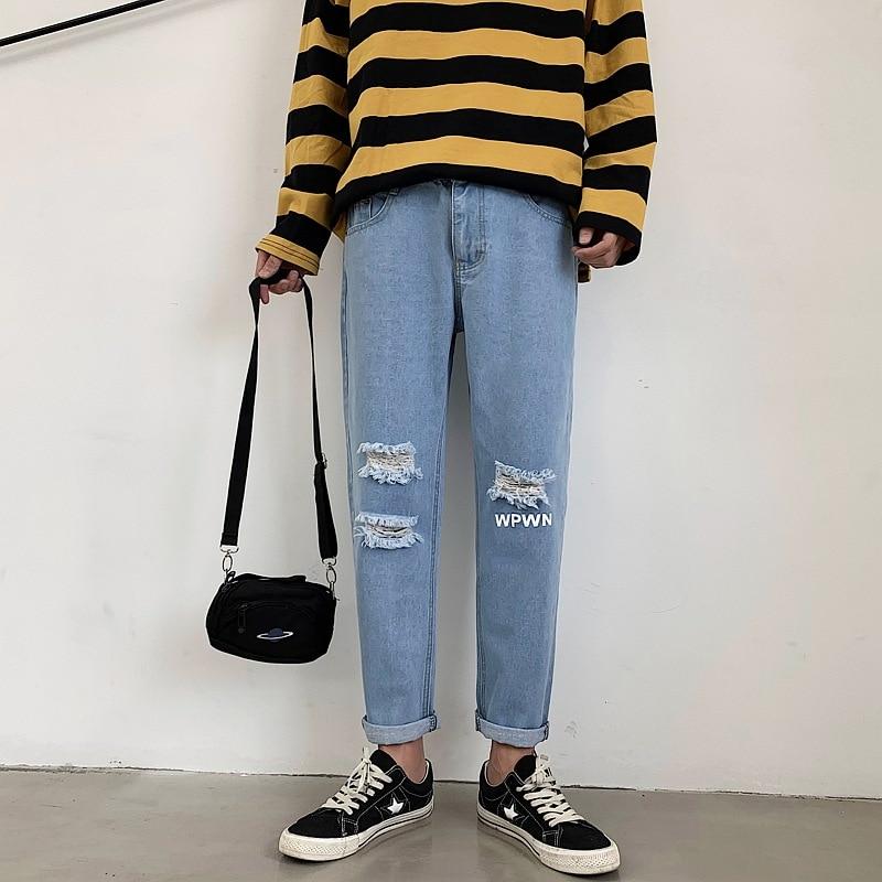 With Holes Jeans Men's Slim Fit Popular Brand Casual Pants Thin Pants Summer Korean-style Trend Students Versatile Capri Pants