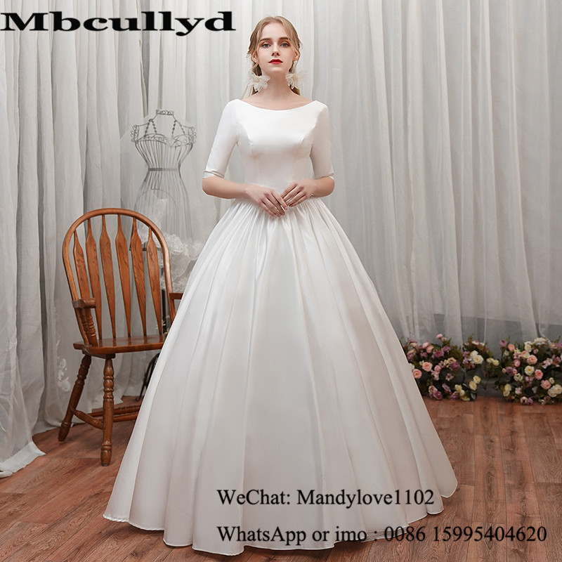 Mbcullyd Luxury Satin Wedding Dresses Long 2020 Half Sleeve African Vestidos De Novia Formal Floor Length Gelinlik Bride Dress