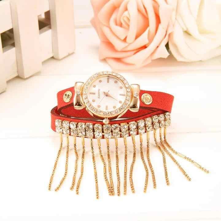 Reloj de cuarzo con borla retro a la moda para mujer, Reloj de pulsera con Correa de cuero con diamantes de imitación para mujer y Niña