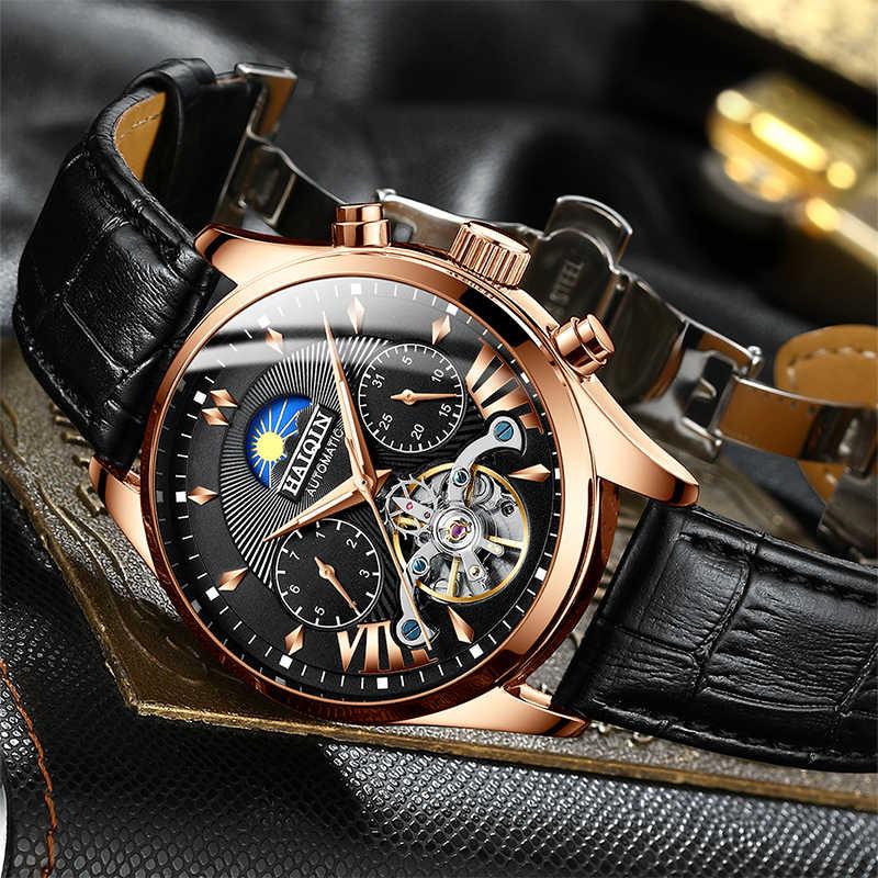 HAIQINหรูหราผู้ชายอัตโนมัตินาฬิกาคลาสสิกธุรกิจนาฬิกาผู้ชายTourbillonกันน้ำนาฬิกาข้อมือชายRelogio Masculino