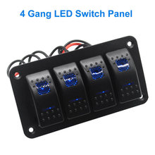 12V 24V Rocker Dash Rocker Toggle Switch Panel 4 Gang Blue LED Car Marine RV Boat Yacht Ship Caravan Truck Waterproof Breaker(China)