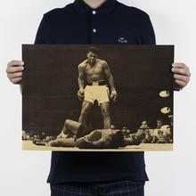 Campeón de boxeo Ali vintage cartel de papel kraft core 51x35,5 cm