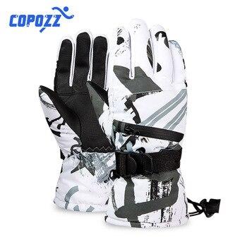 Теплые лыжные перчатки для мужчин и женщин, Зимние флисовые водонепроницаемые теплые детские перчатки для сноуборда и снега, сенсорные пер...