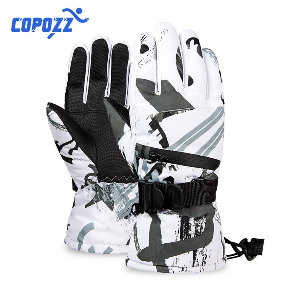 COPOZZ Thermal Ski Gloves Men Women Winter Fleece Waterproof Warm Snowboard Snow Gloves 3 Fingers Touch Screen For Skiing Riding