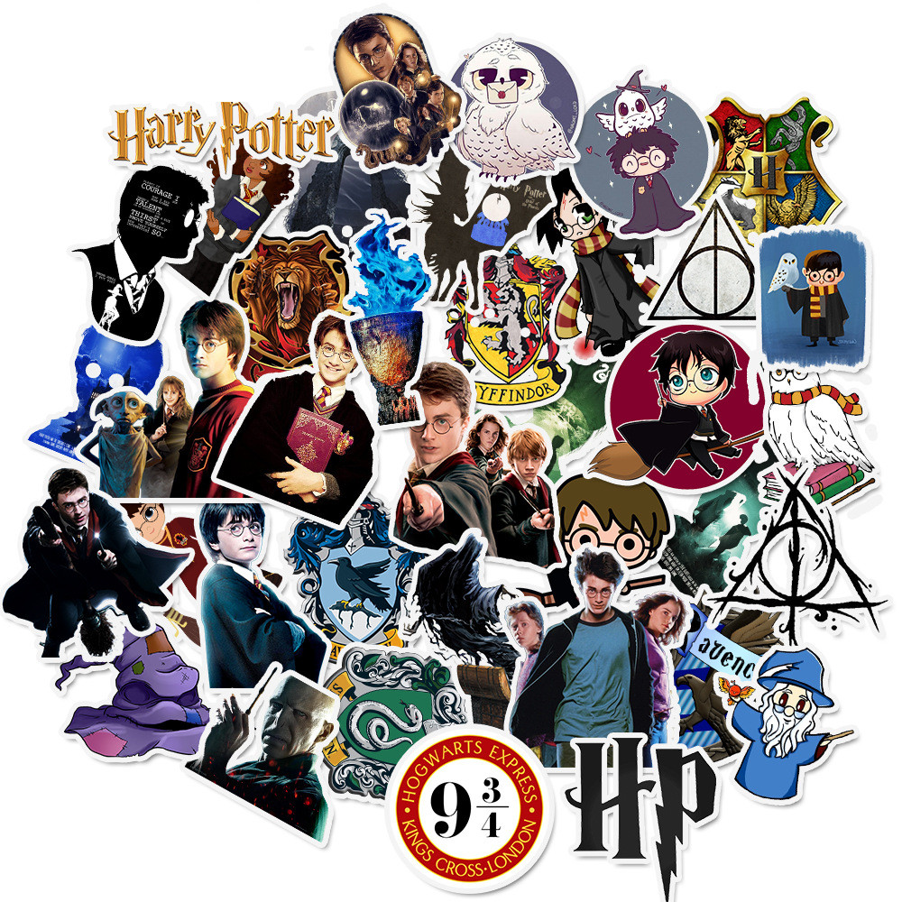 50pcs Pack Harry Potter PVC Stickers For Kids Luggage Skateboard Laptop Skateboard Cartoon Movies Sticker For
