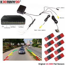 Koorinwoo Parktronics 13MM White Black Car Parking Sensor 8 Alarm Probe video System Can Connect Car Rearview Camera Android DVD