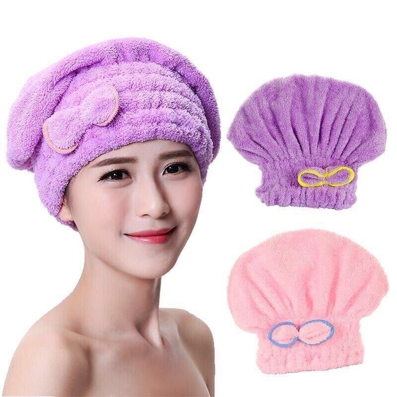 Microfiber hair towel turban towel Quickly hair drying towel Women Girls Ladies Absorbent shower cap 7 colors