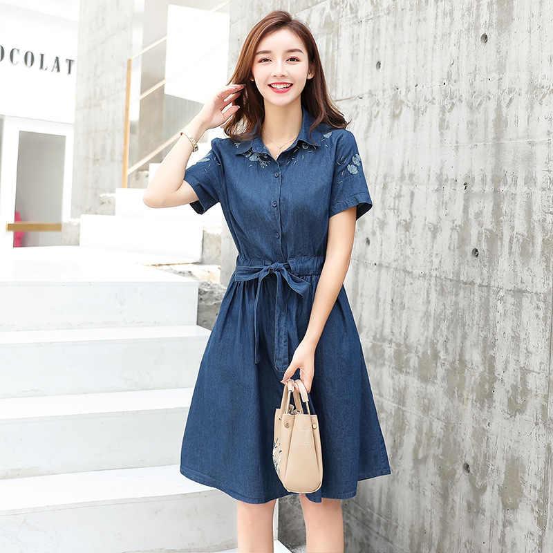 אביב קיץ ג 'ינס שמלת נשים Midi קוריאני שמלת 2020 רקום אלגנטי חולצה שמלות Vestido ג' ינס 8119 KJ3996