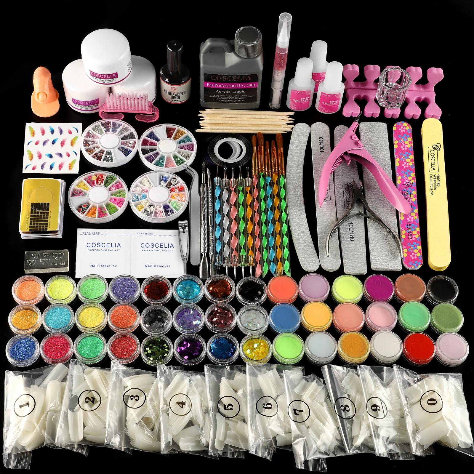 Pro akrylowy zestaw pełny zestaw do Manicure proszek akrylowy brokat 120ml płyn do zestawu Nail Art Clipper Tools komplet pędzli do Manicure