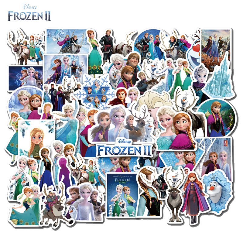 Pegatinas de Frozen 2 de Disney, pegatinas de burbuja de la princesa Elsa, Anna, Olaf, decoración de Graffiti para monopatín, pegatinas 3D para habitaciones de niños, 50 Uds.