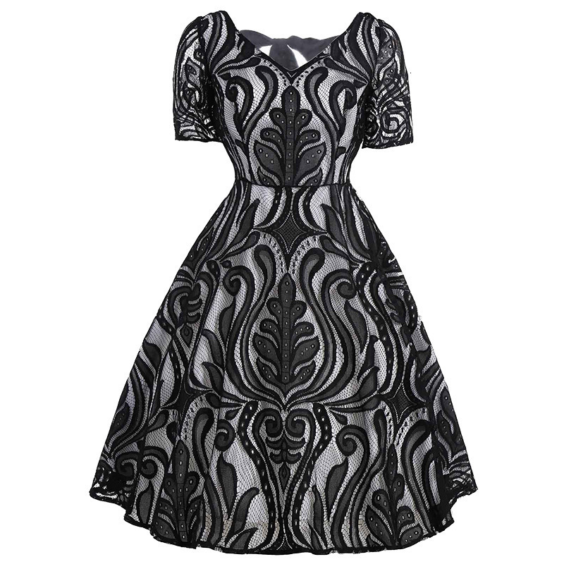 BacklakeGirls Sexy V Neck Short Sleeves Lace Cocktail Dresses V-back With Bow Tie Cocktail Jurk For Women Cocktail Party