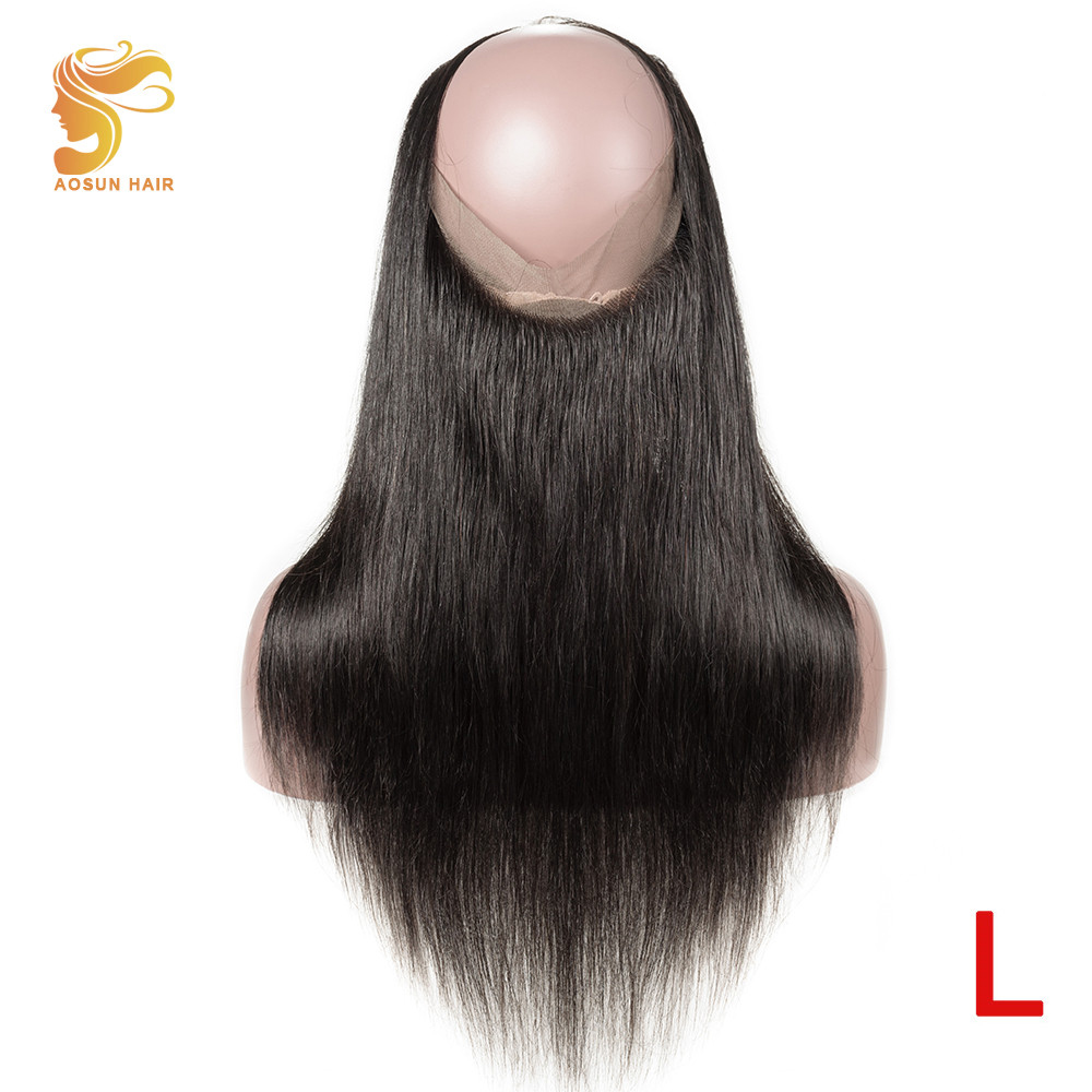 AOSUN HAIR 360 Lace Frontal Closure With Baby Hair Brazilian Straight Remy Human Hair 360 Frontal Lace Closure Natural Color