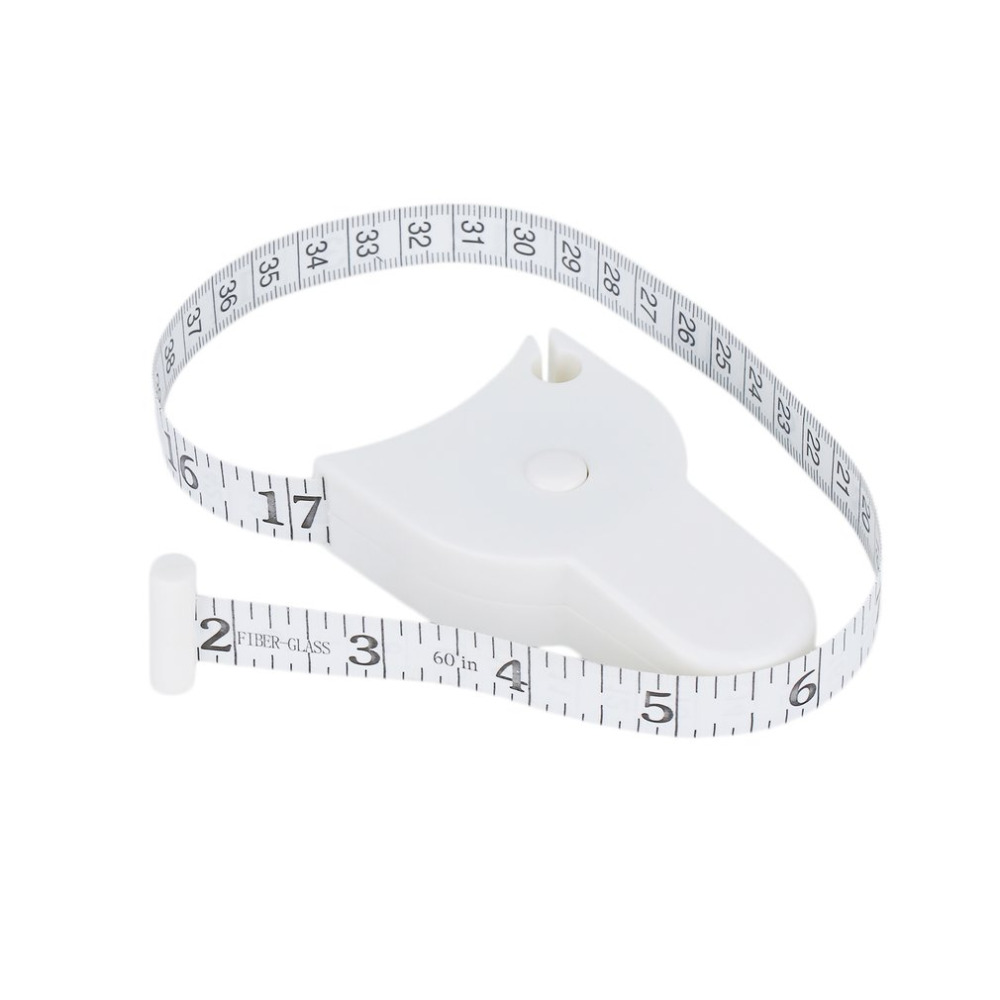 White Measure Sewing Cloth Dieting Tailor 60 Inch 1.5M Retractable Ruler Tape Plastic Fitness Accurate Home Body Measuring Tape