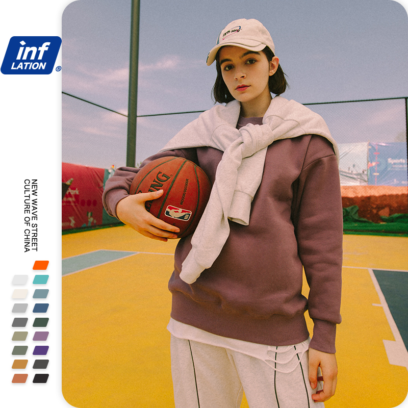 INFLATION Winter Mens Hip Hop Multi-colour Hoodies Velvet Fabrics Fleece Sweatshirts 8 Solid Color Winter Men Sweatshirts 166W17 4