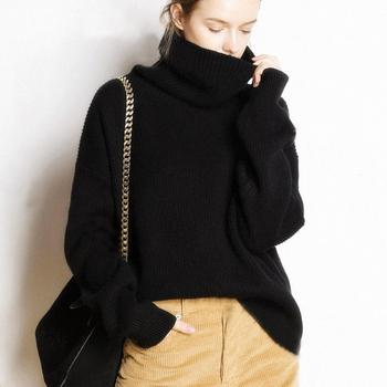 Sweter Mujer ciepły Sweter kobiet modne koreańskie ubrania Sweter zimowy z dzianiny kobiet golf swetry Pull Oversize Femme tanie i dobre opinie COMFYTRIP Pełna WOMEN COTTON Kaszmirowy Mikrofibra NYLON Koszule QN-006 Camping i piesze wycieczki Pasuje prawda na wymiar weź swój normalny rozmiar