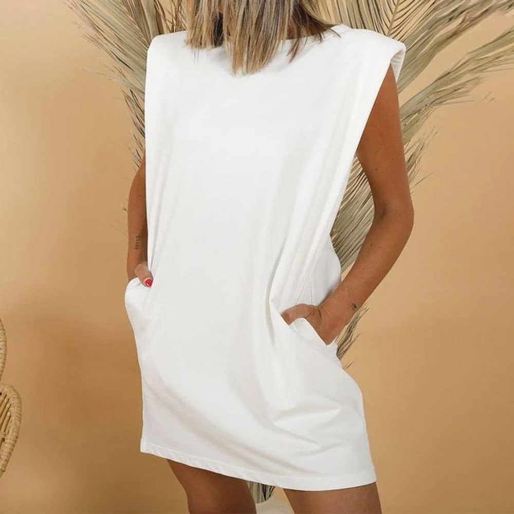 綿肩パッド入り韓国女性のtシャツoネックノースリーブソリッド女性tシャツ2020新夏カジュアル緩い女性tシャツ