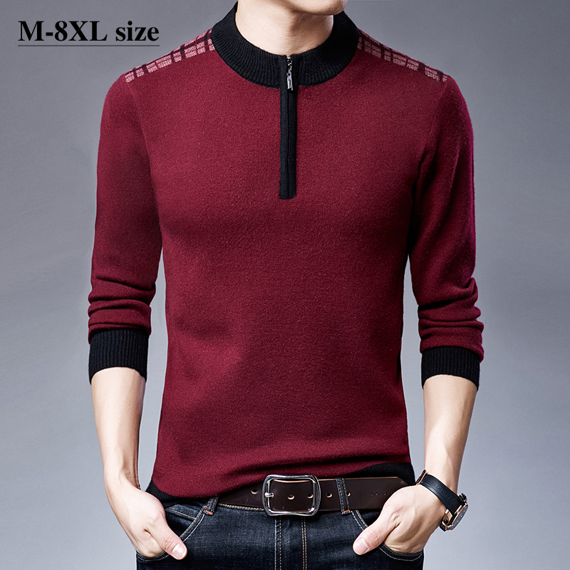 2020 Winter Men's Thicken Knitted Sweater Zipper Half-high Collar  Casual Large Size 4 Color Warm Pullover Sweaters 6XL 7XL 8XL