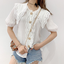 Girl Female Europe 2020 Summer Temperament Peter Pan Collar Lace Mesh Hollow Out